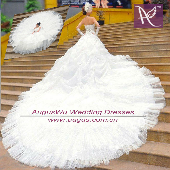 Most Beautiful Ball Gown Wedding Dresses: AWL3042 2014 Amazing Crystal Strapless Princess Puffy Gig