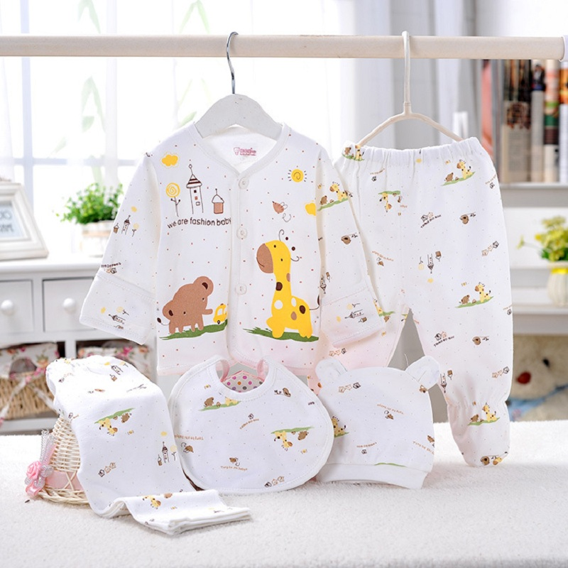 5pcs/set Newborn baby girl clothes 100% cotton infant clothing set Brand baby boy clothes Cotton newborn baby Clothes