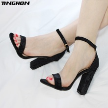 TINGHON  Summer Fashion Sexy Women Open Toe Strappy Ankle Strap Heel One Word Sandals Gold velvet Thick High Heel Shoes 35~43