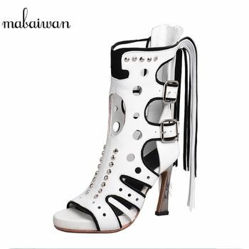 Mabaiwan Casual Women Sandals Designer Rivet Gladiator High Heel Shoes Woman Buckle Genuine Leather Peep Toe Tassel Summer Boots