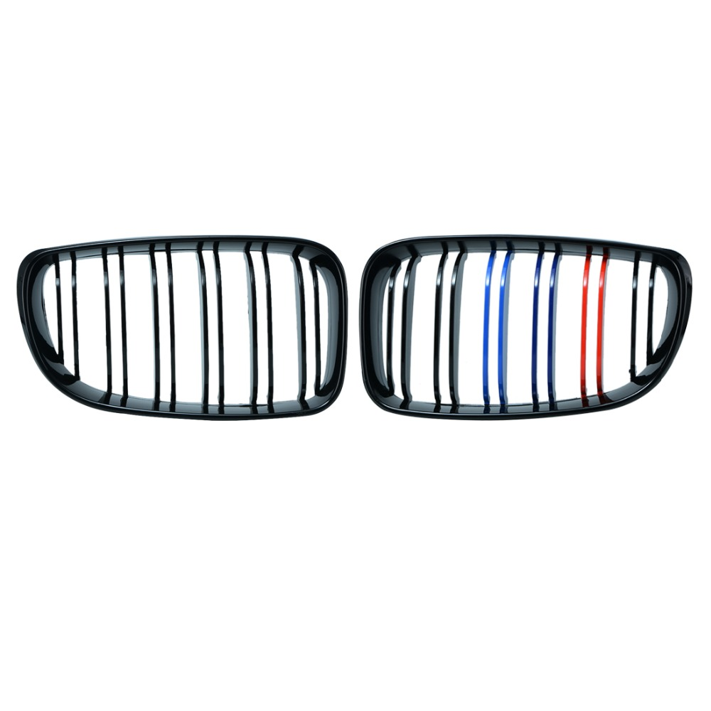 1 Pair For BMW 1 Series E81 E87 116i 118i 120i 130i 2008-2011 Gloss Black M Color Kidney Double Slat Line Grill Grille LK LSM