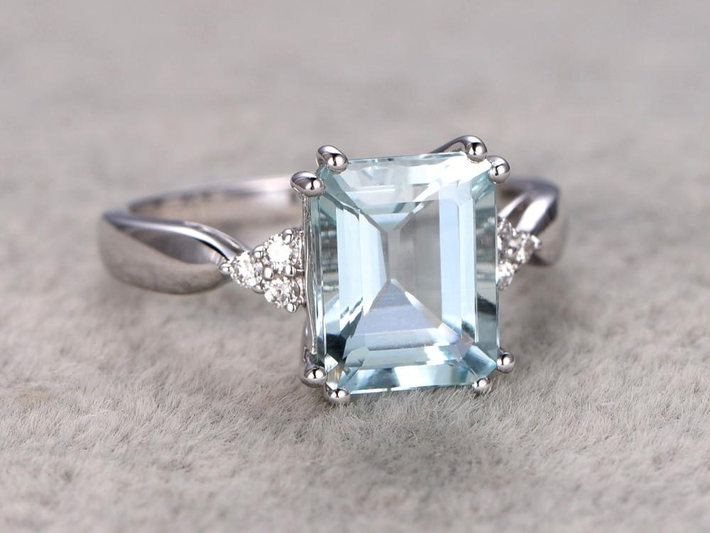 MYRAY 14k White Gold 8x10mm Emerald Cut Natural Blue Aquamarine Wedding Ring Diamond Engagement Rings Anniversary Gift for Women