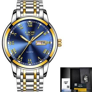 Image 5 - Luik Luxe Merk Mannen Roestvrij Staal Gouden Horloge Heren Quartz Klok Man Sport Waterdichte Horloges Relogio Masculino