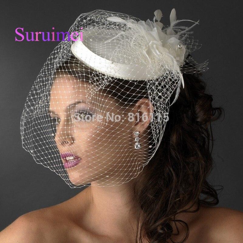 Chapeau avec fleur plume pour la mariée ...