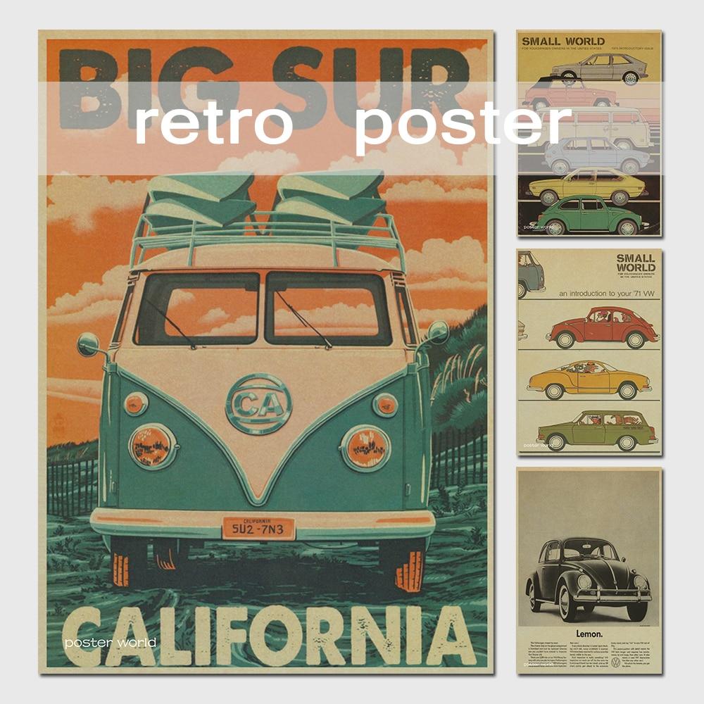 limited koop muurstickers vinilos stickers vintage tekenen vw bus retro schilderen auto plaat. Black Bedroom Furniture Sets. Home Design Ideas