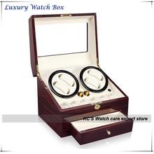 Calidad de cuero rojo y venta al por mayor madera enrollador de reloj para RLX 4 + 6 caja de almacenamiento Display Case con un cajón GC03-D66EW-F