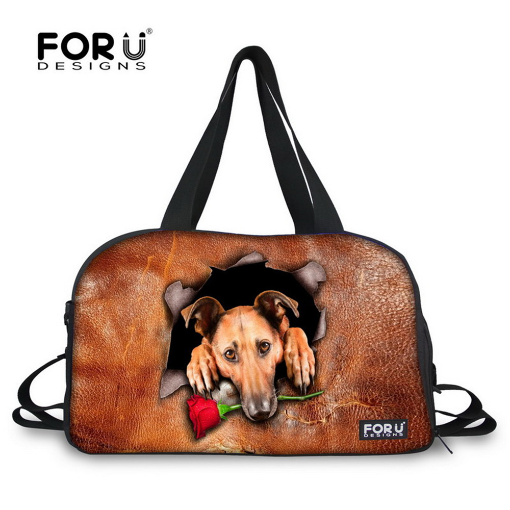 FORUDESIGNS Waterproof Women Yoga Mat Sport Bags Dogs Printing Canvas Zipper High Quality Training Female Travel Duffel Bag