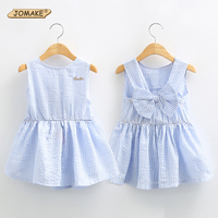 Classic Plaid Baby Girls Dresses Summer 2016 Sleeveless Girl Dress With Bowknot Casual Girls Clothes Brand