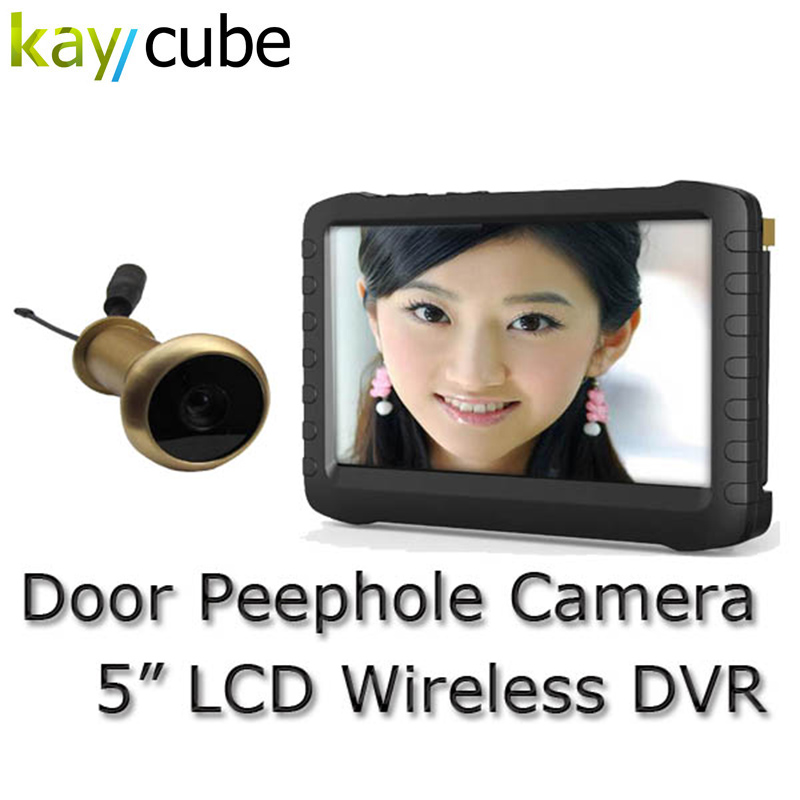 5.8G Wireless Door Peephole Camera with DVR receiver No-interference 90 Degree VOA TE850H Motion Detect Recording Monitor