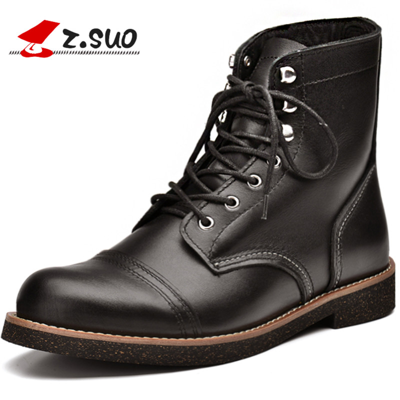 ZSUO Brand Genuine Leather Men Boots Lace-up Chelsea Boots Leather Insulated Tooling Boots Autumn Black leather Boots For MaleZSUO Brand Genuine Leather Men Boots Lace-up Chelsea Boots Leather Insulated Tooling Boots Autumn Black leather Boots For Male