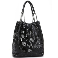 Ladies Casual Chain Tote Bag Vintage Skull Shoulder Bags Women Bucket Pu Leather With Silk Female
