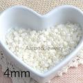 white Half Round ABS Imitation Pearl Beads Fake Flat Back Scrapbook Craft DIY Jewelry Findings 4mm 2000Pcs BM-B04