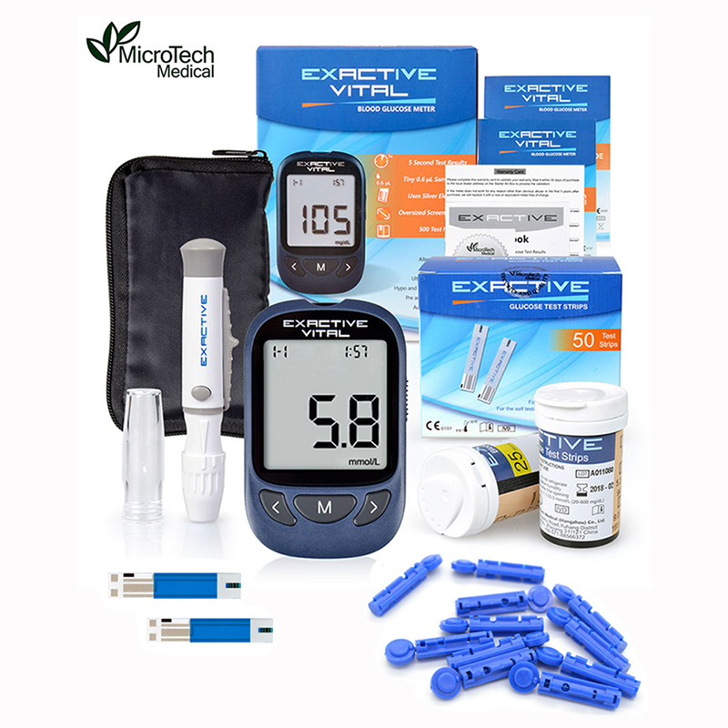 MICROTECH MEDICAL Exactive Vital Diabetics Test Glucometer Monitor 50 Strips + 50 Lancets Diabetes Blood Glucose Meter Kit Mg/DL