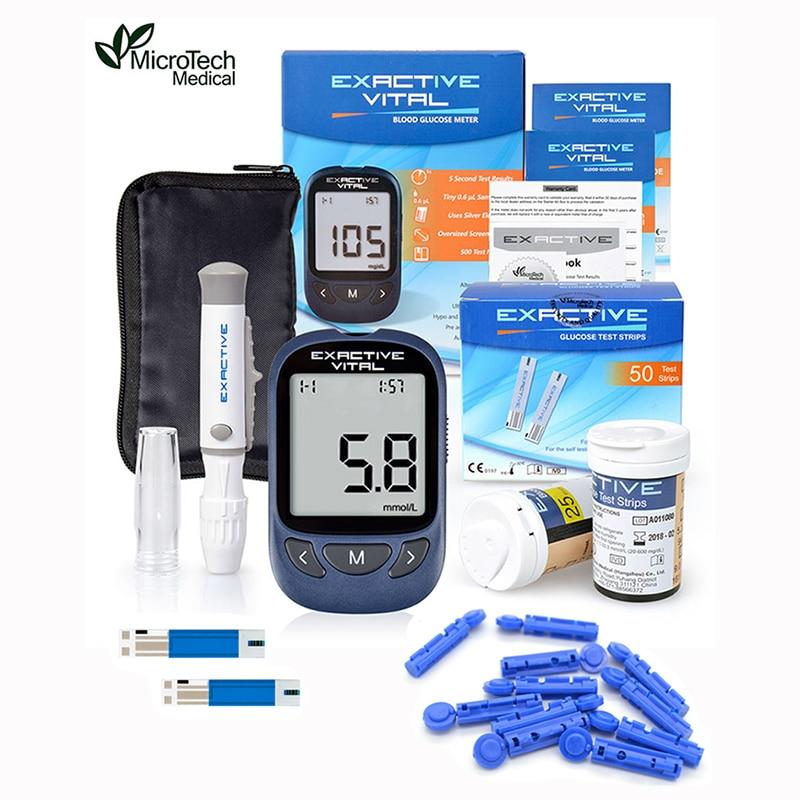 Микротех медицинский экзоактивный тест для диабетиков глюкометр монитор 50 полосок + 50 ланцетов диабет глюкометр в крови набор мг/дл