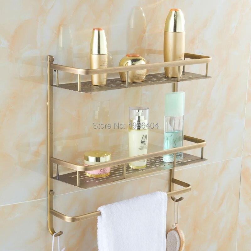 Accessoires de salle de bain supports de rangement en cuivre de haute qualité rétro panier étagère coin mural à deux niveaux panier Rack BS3216