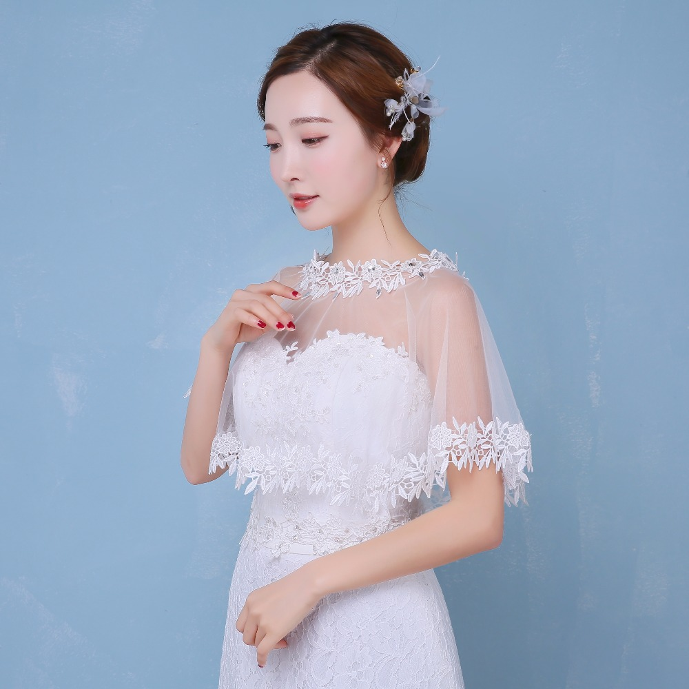 100% Real Photos Cheap Lace Bridal Boleros Wedding Jackets White ...
