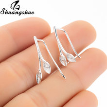 Shuangshuo Silver Flower Ear Cuff For Women Lily Ear Climber Ear Studs Jackets Crawler Plant Stud Earrings Jewelry oorbellen(China)