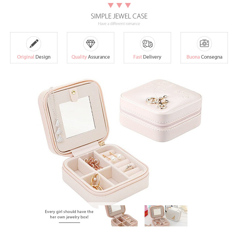 Portable Square Jewelry Box Women Girl PU Earrings Necklaces Rings Makeup Organizer Storage with Mirror Travel Display Case Gift