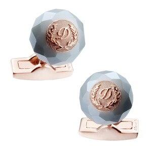 HAWSON Classic Round Stone Cuff links Navy Groom Cuff Buttons Luxury Wedding Cufflinks for Men High Quality