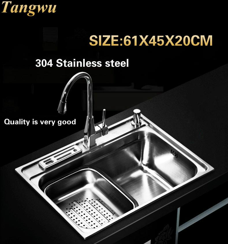 Tangwu High quality fashion food grade 304 stainless steel kitchen Sink large single slot 610X450X200 MM