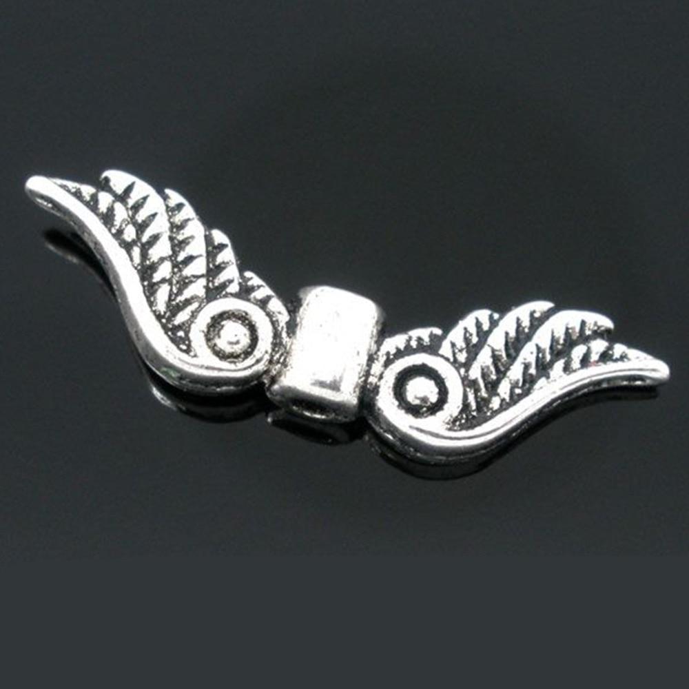 DoreenBeads 50 старинное серебро Angel Wing Шарм распорки бисер 23×7 мм