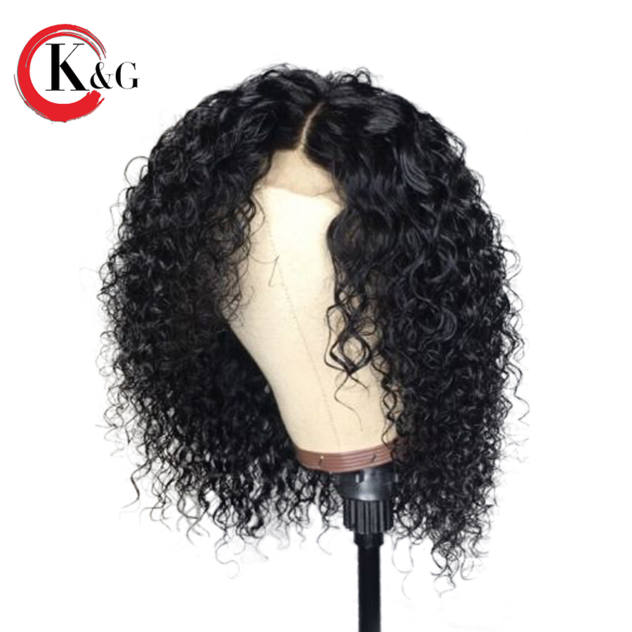 KUNGANG Curly Lace Front Human Hair Wigs For Women Bleached Knots Brazilian Remy Hair Wigs 13