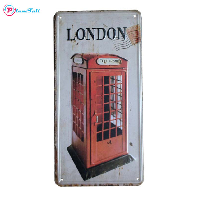 Metal License Plate London Red Phone Booth Vintage Home Decor Tin ...