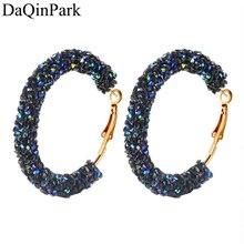 2018 New Design Classic Fashion Crystal Hoop Earrings for Women Geometric Round Shiny Rhinestone Big Earring Jewelry