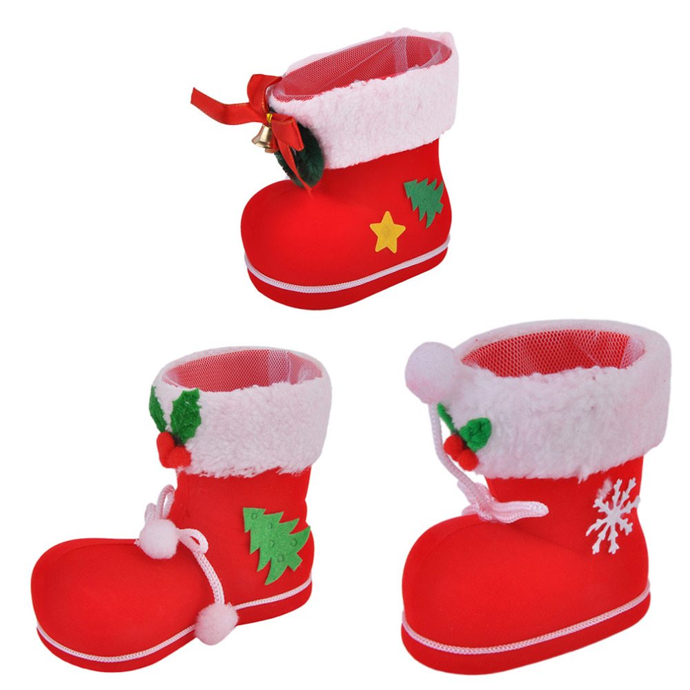 Creative Design Christmas Flocking Boots Candy Boots Home Funny Xmas Decorations Supplies Best Children Kids Gifts