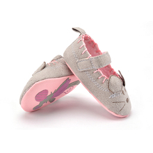Cute Baby Girls First walkers Cotton Grey Cartoon Mouse Soft with Pattern Shading Soft Sole Baby Toddler Prewalkers Shoe 3 sizes