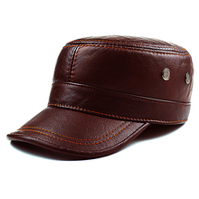 Autumn winter cowhide  hat male flat cap Leather Mens outdoor leisure leather