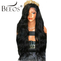 BEEOS 250% Lace Front Human Hair Wigs With Baby Hair Bleached Knots Remy Peruvian Body Wave Human Wigs Pre Plucked Hairline