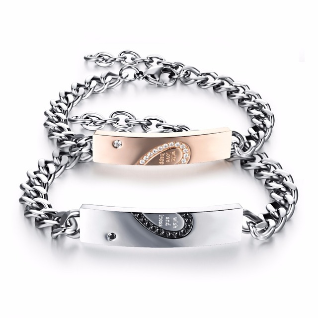 Stainless Steel S Crystal Heart Puzzle Bracelet Set With Link Chain