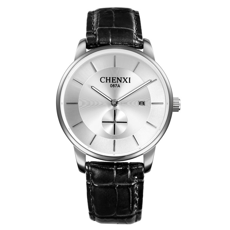 Fashion Chenxi Brand Quartz Watch Lovers Watches Women Men Couple Dress Genuine Leather Calendar Wristwatches Casual Gift 067a