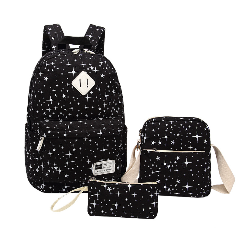 3 Pcs Set School Bags For Teenagers Girls Boys Backpack Women High Quality Canvas Star Printing