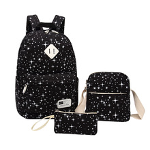 3 шт. комплект Школьные ранцы для подростков мальчиков и девочек рюкзак женщины высокое качество холст звезды печати Школьный рюкзак Mochila BB31
