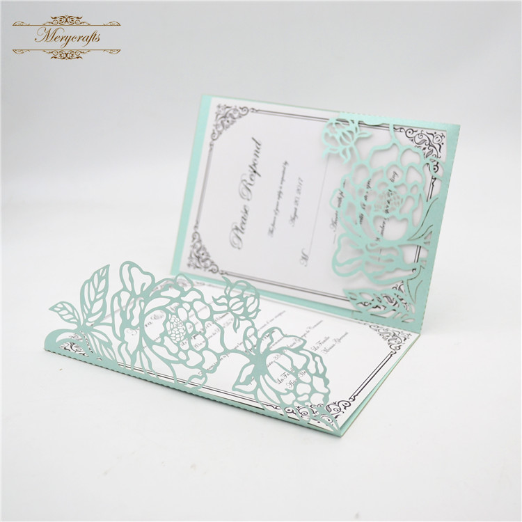 Tri Fold Light Blue Invitations Wedding