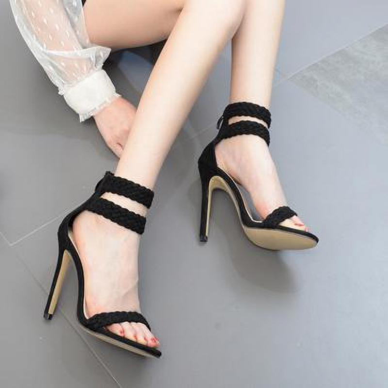 Odinokov Summer Sandals Pu Womens High Heels Shoes Woman Party Open Toe High Heel Women Causal Sandals
