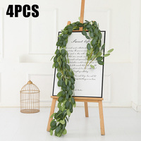 4pcs Artificial Eucalyptus Leaves Garland Vine Greenery Wedding Home Wall Decors