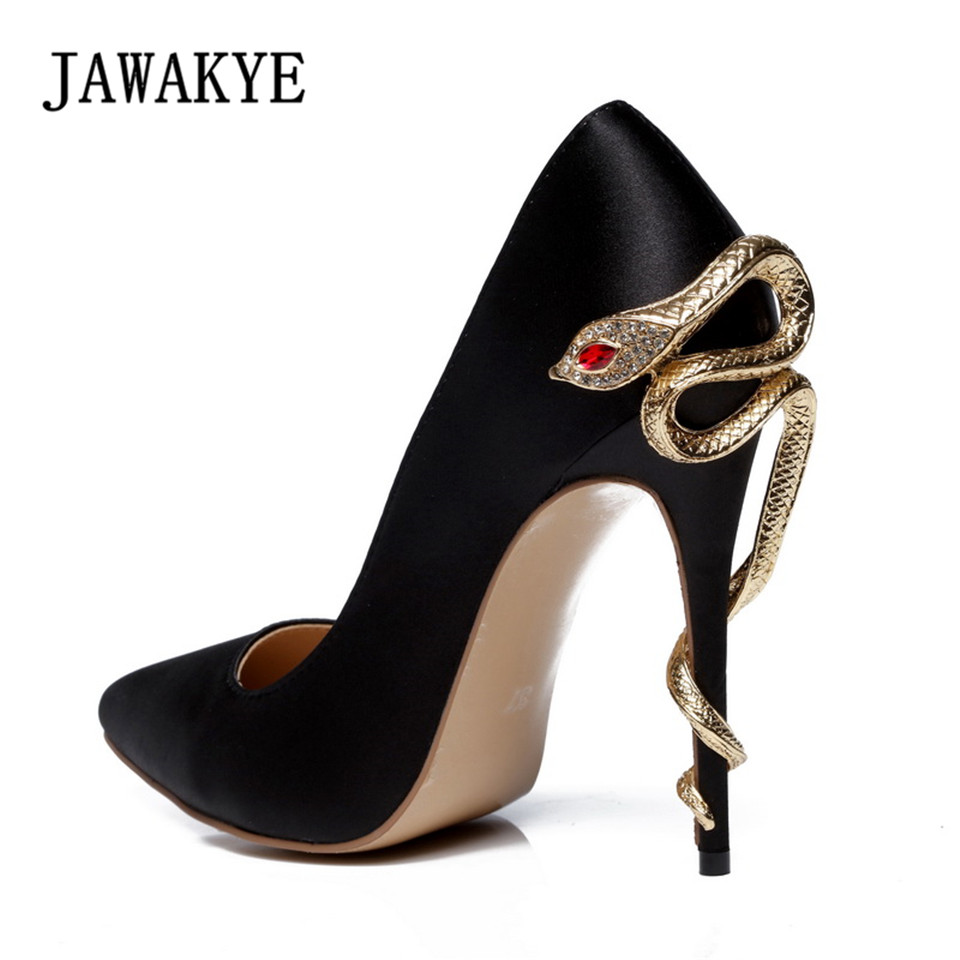 New Sexy Metal Snake Heels Women Pumps Pointed Toe Solid Silk Shallow Fashion Wedding Shoes Women High Heels 10 cm Shoes JAWAKYE floral embroidered heels women pumps solid pointed high heels toe shallow fashion high heels 10cm shoes women wedding shoes