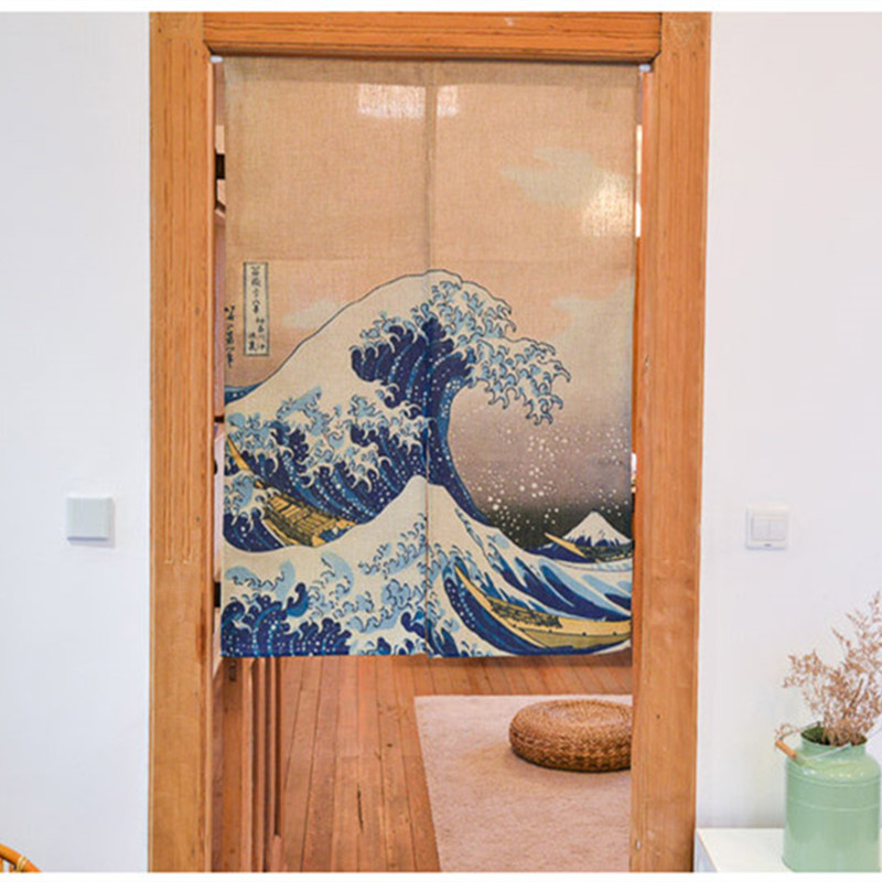 Japonský styl Ukiyoe THE GREAT WAVE Vytiskne bavlněné dveřní záclony Dekorativní záclonové záclony Creative Room Partition