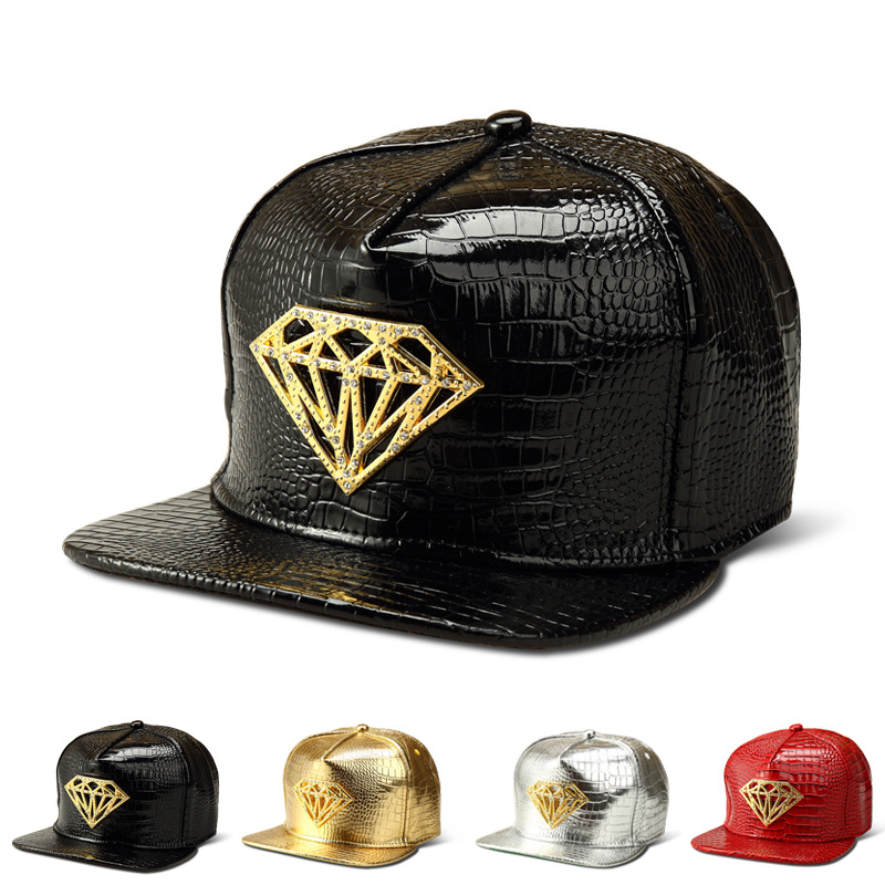New Hot Sale Snapback Diamond Alloy Hip Hop Baseball Cap Adjustable Swag  Bone Hat Breathable Faux Leather Caps For Women And Men-in Baseball Caps  from Men s ... e44f14e6e826