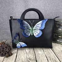Новые Зимние Оригинальные аутентичные ретро дамы сумочку из воловьей кожи кожа коровы натуральная кожа сумка бабочки