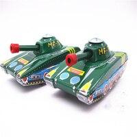 Brinquedo coleção clássico Retro Tin Clockwork Wind up Metal Andando Robô Tanque Mecânica crianças natal presente de aniversário