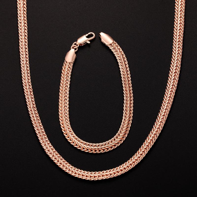 1 Set 4mm 6mm Breite Mens Frauen 585 Rose Gold Farbe Rose Halskette Smart Schlange Ketten Set Schmuck