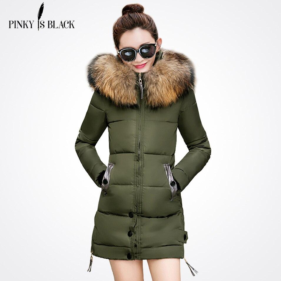 PinkyIsBlack winter jacket women slim long cotton-padded Hooded jacket   parka   female wadded jacket outerwear winter coat women