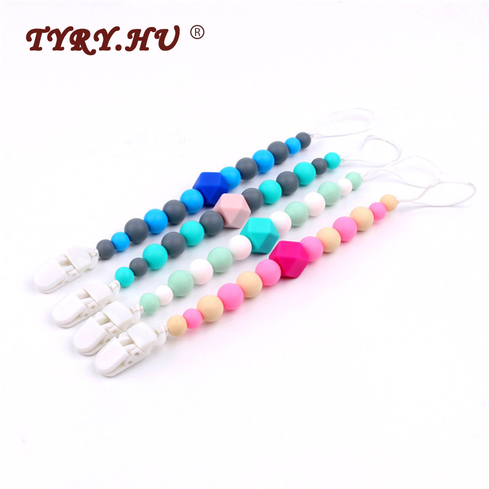 TYRY.HU 1Pc Silicone Pacifier Chain Baby Teething Silicone Teether Pacifier Clips With Food Grade Silicone Beads Accessories