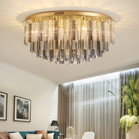 New round led ceiling lamp gold crystal lamp living room creative atmosphere dining room lamps