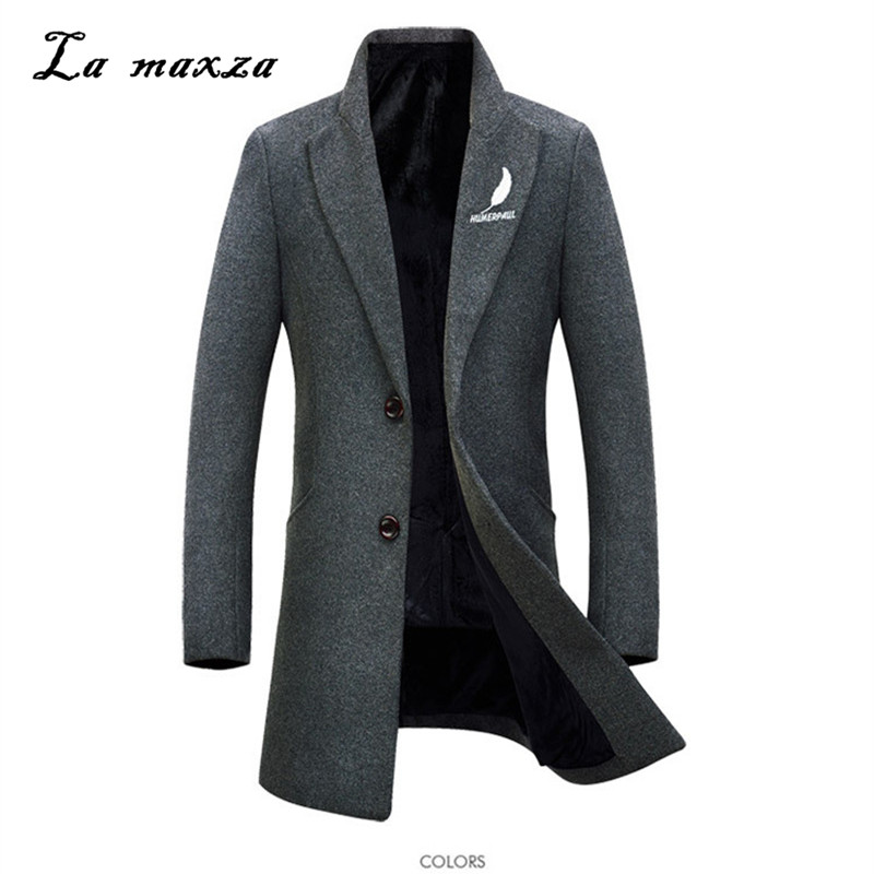 2018 Smart Casual Mens Cappotti Invernali Cappotti Moda Slim Caldo Di Inverno Del Cappotto Del Vestito Del Ricamo