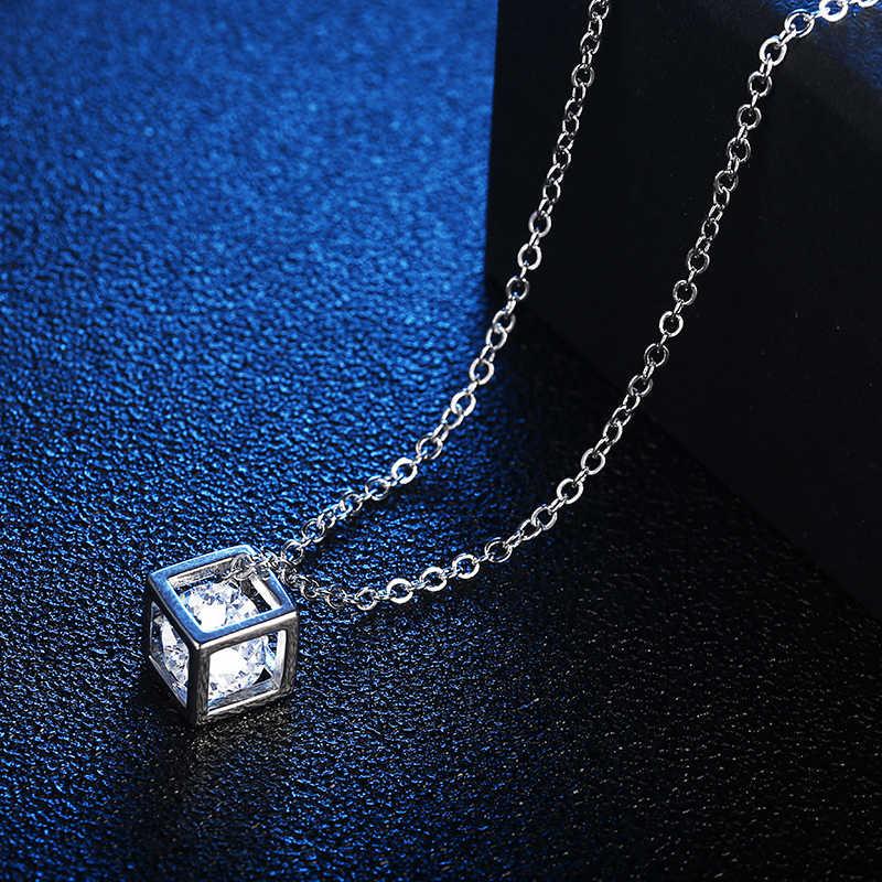 Новое поступление, Кристальные стразы, ожерелье с кулоном для женщин, модное серебряное квадратное ожерелье на ключицу, свадебные ювелирные изделия